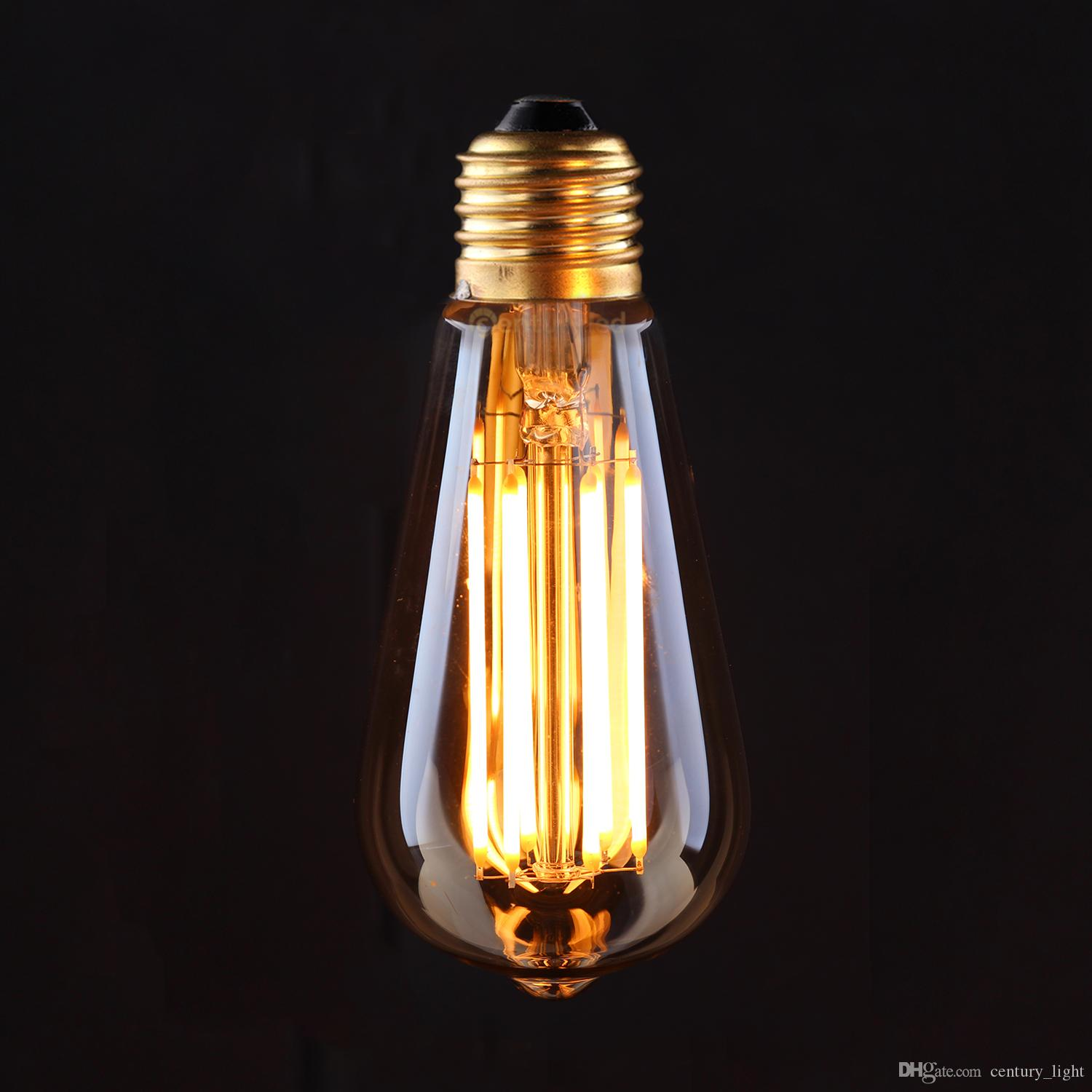 Vintage LED Filament Light Bulb 6W 8W 2200K Edison Golden ST19/ST64 Style Certified by UL Dimmable