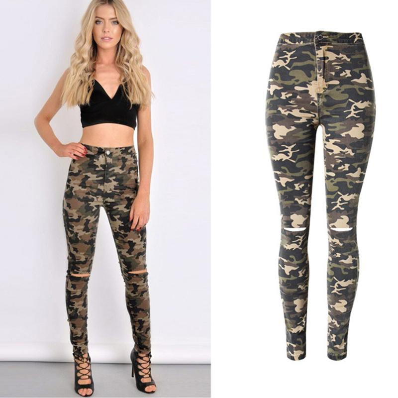 Wholesale- YiQuanYiMei YiQuanYiMei New Fashion Elastic camouflage Cotton Hole jeans for women high waist jeans Pencil Pants Skinny pants