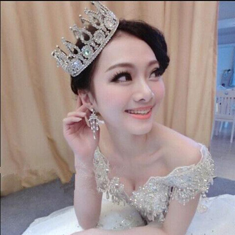 2017 New Bridal European Hair Jewelry Crown Silver Plated Rhinestone Tiara Super Large Crown Headband Wedding Hair Accessories Headpieces