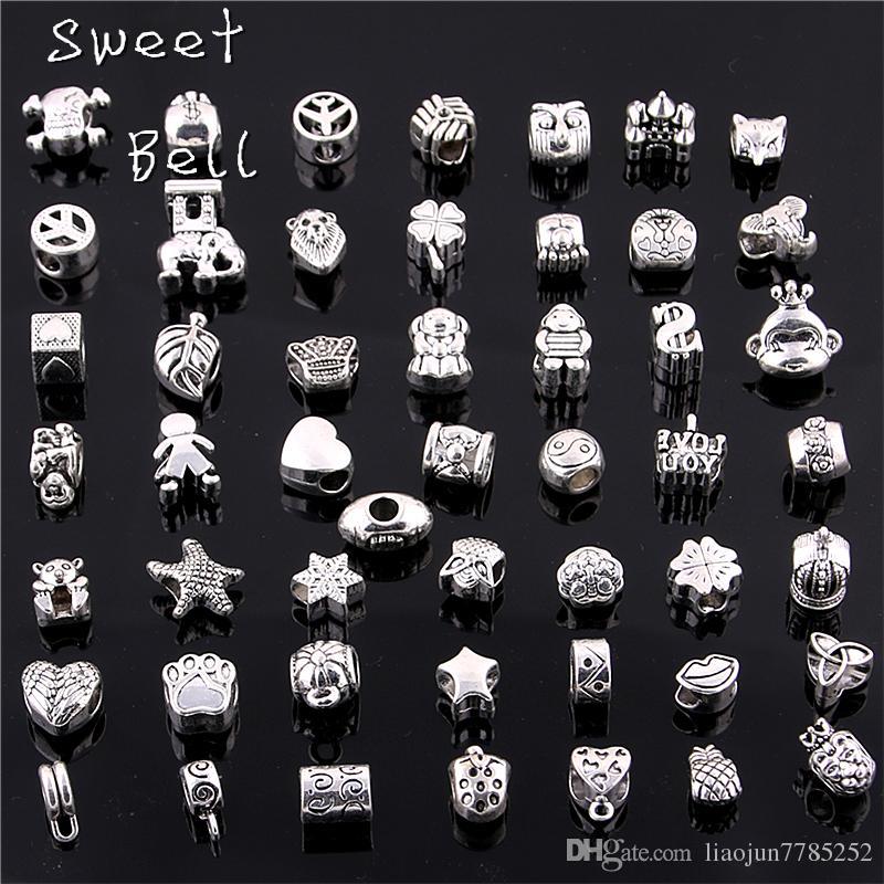 Dolce campana 50 pz / lotto 925 argento perline grande foro adatto argento antico in lega di zinco metallo misto perline fai da te fascino per i braccialetti D0955