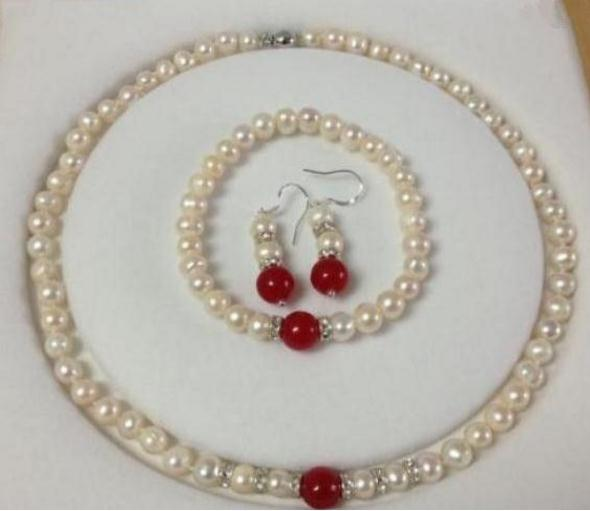 7-8mm White Pearl Natural Red Jade Necklace 18inch Braccialetti 7.5inch Earrings Set 925 Silver Clasp