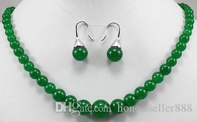 Wholesale cheap 5 colors! 6-14mm green/purple/red/yellow jade tiger eye stone necklace earrings