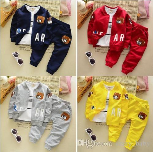 3pcs kids baby boys tops+T shirt + pants Outfits & set boys autumn clothing 0-4Y