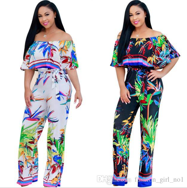 Summer New Fashion Women Ladies Flower Printed Jumpsuit Sexy Off Shoulder Rompers Wide Leg Long Pant Overalls Wide-leg Trousers