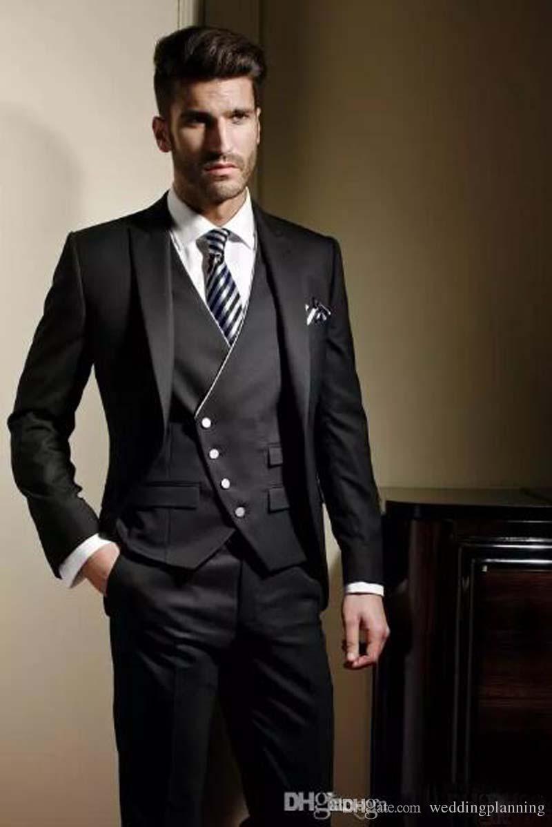 Custom Made Groom Tuxedos Formal suit Wedding suit for men Groomsman Men Suits Jacket+Pants+Tie+Vest classic fit Bridegroom Suit