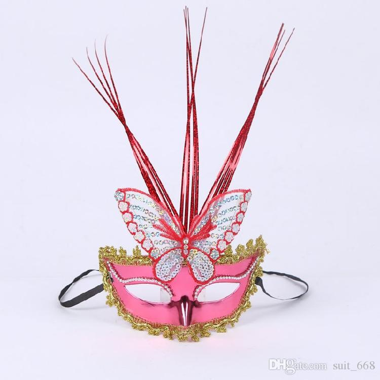 Rain butterfly mask mask flash light emitting luminous plush mask masquerade feather masks wholesale
