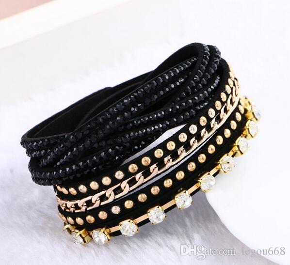 Nueva joyería de 12 pulsera de cuero de la capa! brazaletes para mujeres Botones ajustar el tamaño de las pulseras G29 pulseira feminina