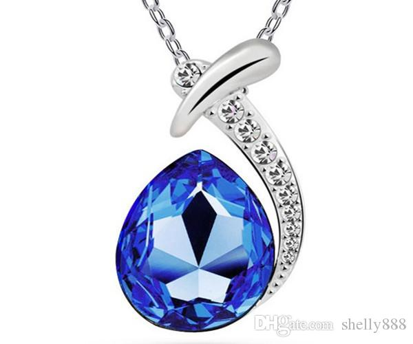 Factory direct selling short fashion Austria crystal necklace, water drop popular clavicle chain wholesale fish beauty HX0108