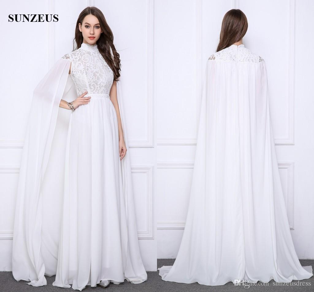 Großhandel Lange Weiße Abendkleider Lace High Neck Abendkleider Mit Langem  Umhang Elegant Chiffon Party Kleider Saudi Arabisch Kaftan Von