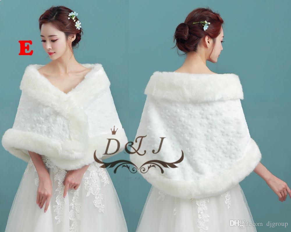 2018 2017 Winter Bridal Fur Wraps White Women Warm Wool Wedding ...