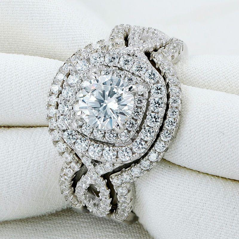 Nova Chegada Sólida 925 Sterling Silver Wedding Ring Conjuntos de Noivado Banda de Noivado Jóias Clássicas Para As Mulheres Frete Grátis