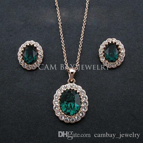 Vendita calda di alta qualità 18 k placcato oro classico grande verde / blu / cristallo rosso gioielli collana orecchino imposta gioielli da sposa donna