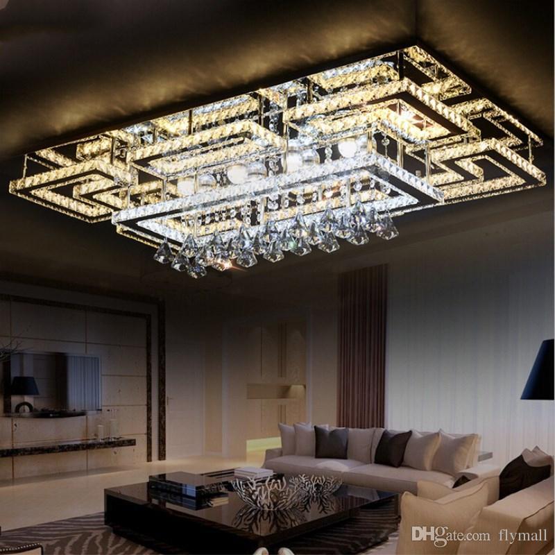 Modern LED Crystal Ceiling Light Square Ceiling Lamp K9 Crystal Ceiling  Chandeliers For Living Room Bedroom Restaurant Light Fixtures Bedroom ...