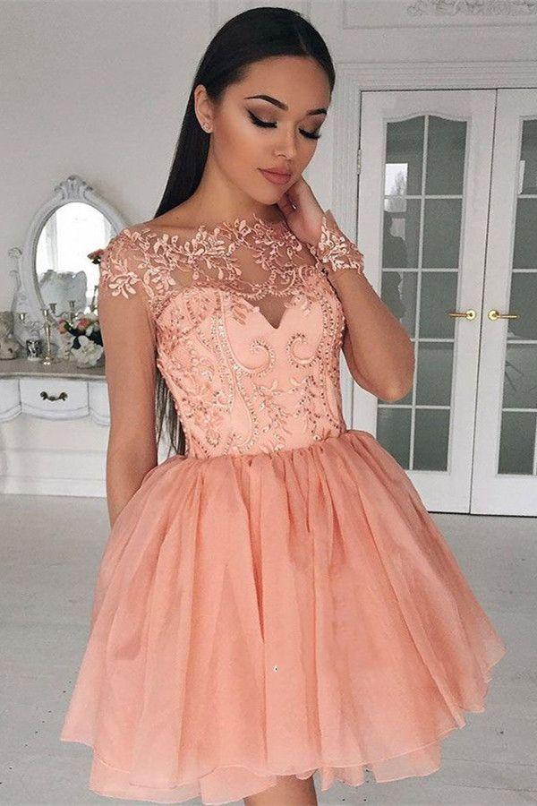 Compre Hermosos Vestidos De Coctel Cortos Jewel Sheer Neck Vestidos De Baile Con Apliques De Encaje Cremallera Trasera Por Encargo Mini Vestidos De