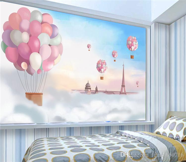 Großhandel Handgemalte Cartoon Kinderzimmer Persönlichkeit Tapeten  Wohnzimmer TV Hintergrund Wände Mittelmeer Wand Gemälde Leuchtturm Himmel  ...