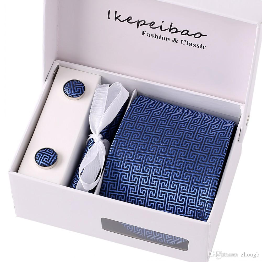 Ikepeibao Novelty Men Ties Sets Hanky Cufflink Clips w Gift Box Stripes Paisley Dots Ties Neckties Set Gravata Cortabata for men