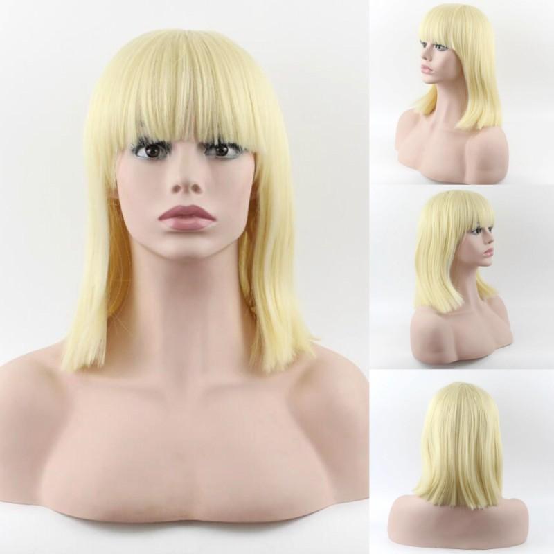 Parrucche economiche della signora di modo classico Parrucche corte dei capelli d'oro parrucche Bobo Neat Bang Parrucche sintetiche resistenti al calore capelli parrucche sintetiche