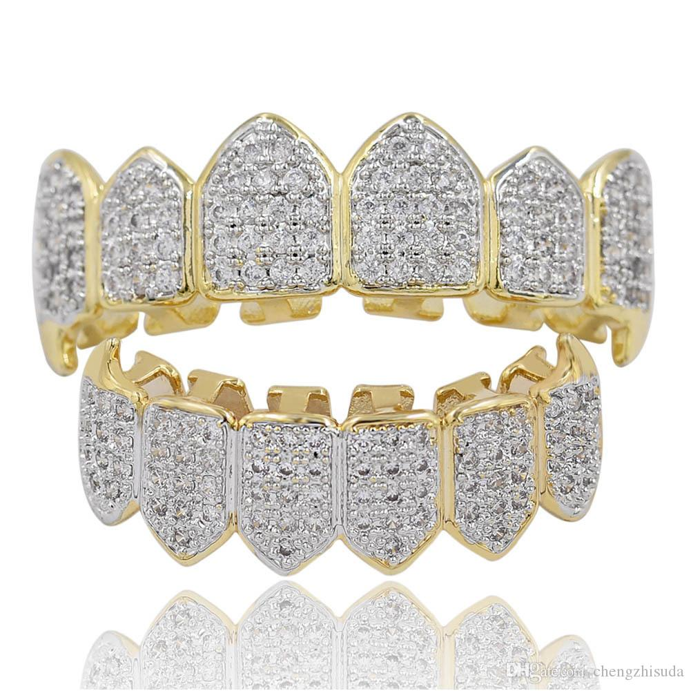 Hip Hop Iced Out CZ Mouth Teeth Grillz Caps Top Bottom Grill Set Men Women Vampire Grills