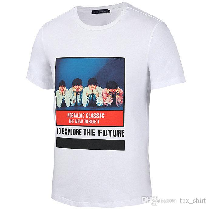 Nostalgic classic T shirt Explore the future short sleeve gown Picture white tees Leisure printing clothing Quality cotton Tshirt