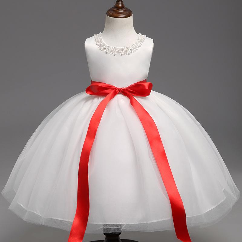 2021 Neues Mode Mädchen Blume verziertes Kleid mit Schmetterlingsknoten Prinzessin in Europa und amerikanisch