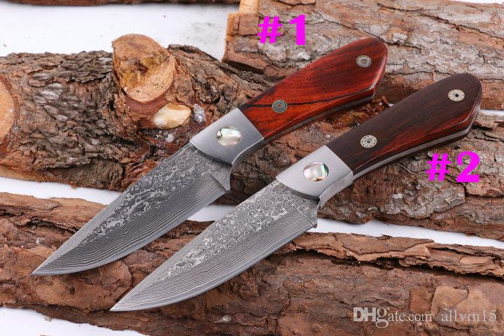 New 2 Style Damascus Fixed Blade Hunting Knife Natural Rosewood Handle Outdoor Survival Straight Knife With Genuine Leather Sheath