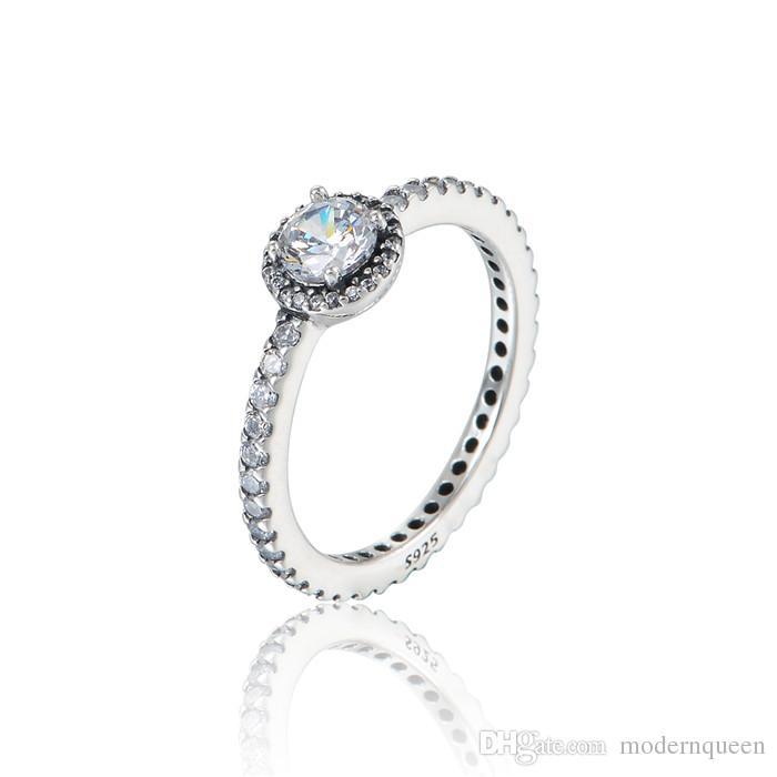 Gemstone Diamond Argento anelli cubic zirconia S925 Sterling Silver adatti per bracciale in stile Pandora e gioielli in charms 190946CZ
