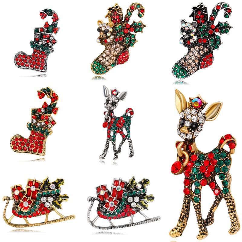 Moda all'ingrosso colorato oro mentale argento Natale cervi spilla di Natale ragazza donne di Natale di skateboard gioielli regali spilla
