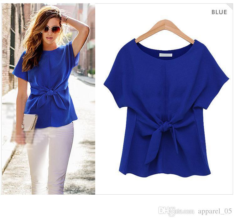 Новое прибытие мода с коротким рукавом рубашка лук шифон рубашка О-образным вырезом офис женская шифон блузка 3 цвета синий / белый / Роза