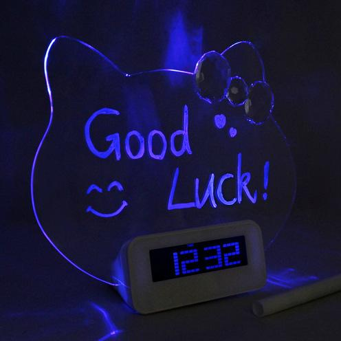 Kitty Cat luminous message board relógio eletrônico silencioso fluorescente LED despertador ocioso criativo fonte de comércio exterior
