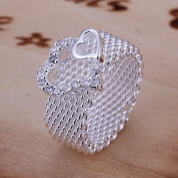 Europa Estilo 925 Banhado A Prata Grade Oco Dupla Figura Anel de Corações 8 tamanho anel de moda das mulheres