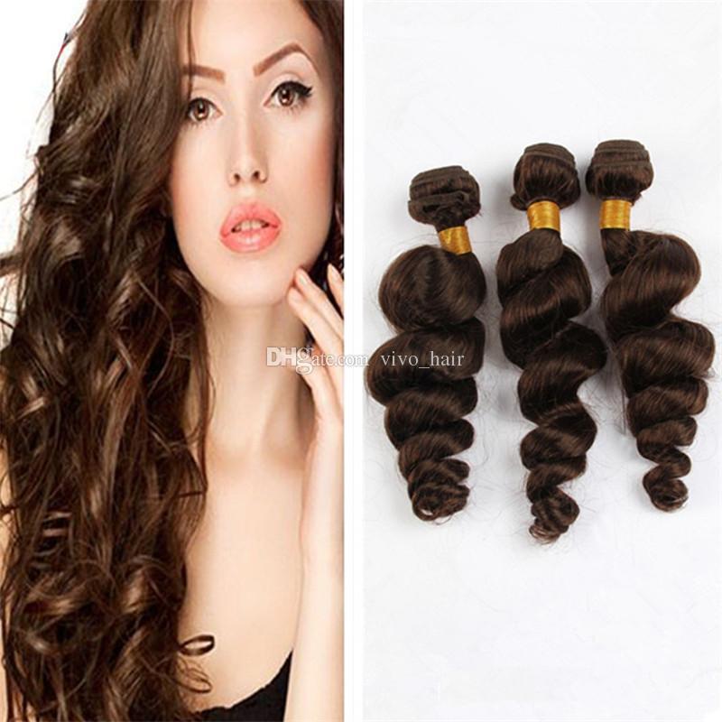 Cheap Chestnut Brown Loose Wave Virgin Hair 3 Bundles Color #4 Medium Brown Malaysian Human Hair Weaves Extensions 3Pcs Lot