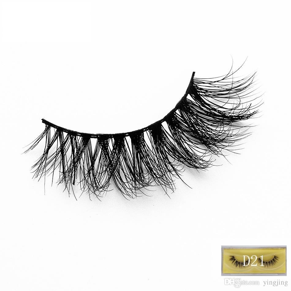 Güzel 1 Çift 3D Vizon Yanlış Eyelashes El Yapımı Doğal EyelashesMmink Kalın Yanlış Eyelashes Uzatma Güzellik makyaj Araçları