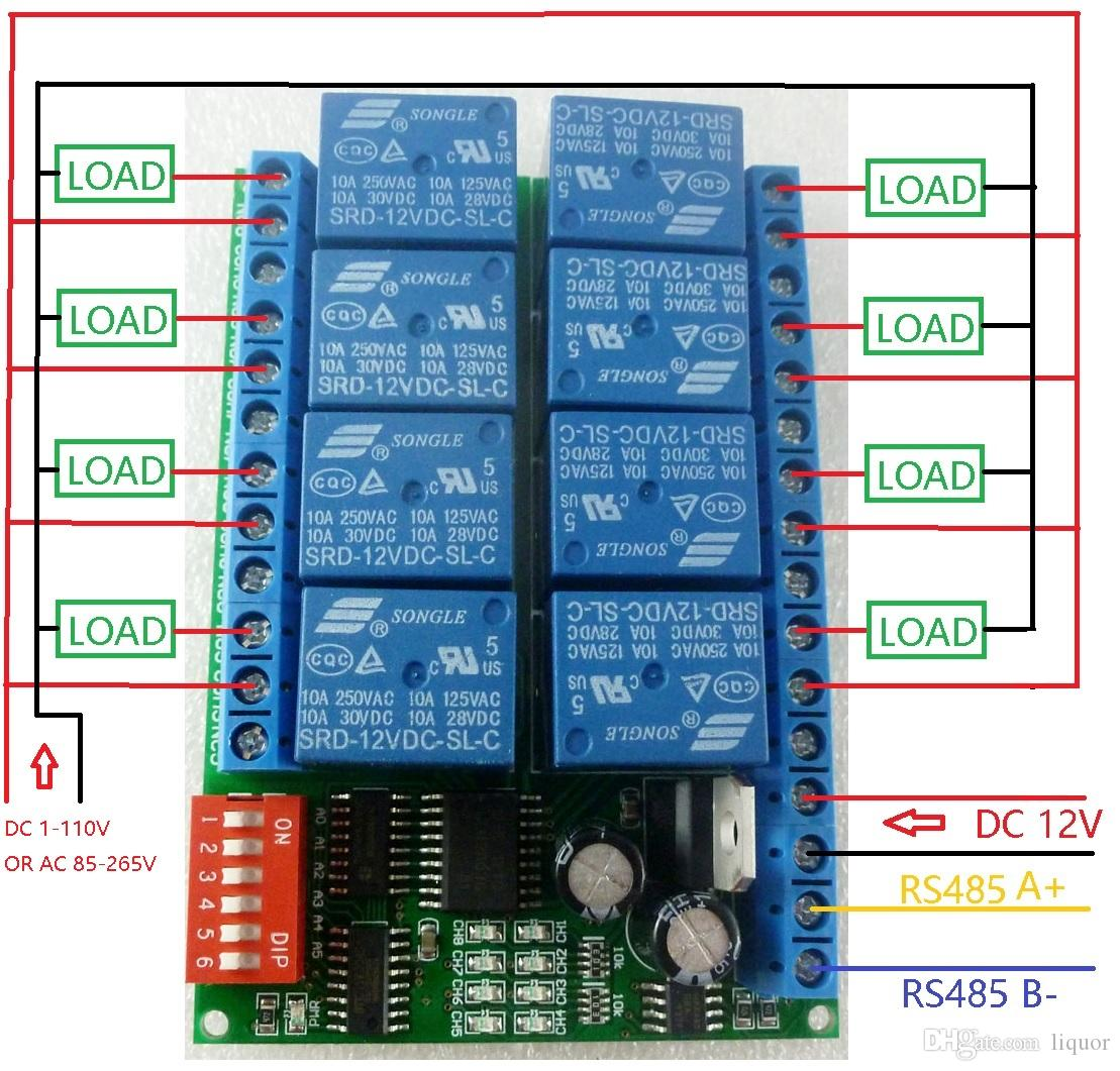 8 قناة DC 12V RS485 وحدة التقوية مودبوس RTU 485 مفتاح التحكم عن بعد لمراقبة PLC PTZ الأمن كاميرا