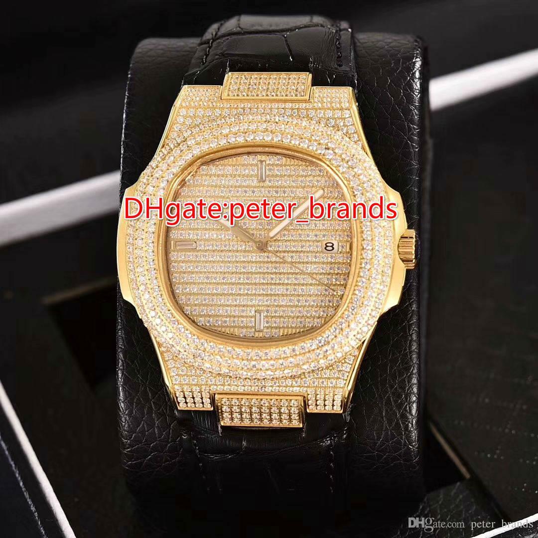 Automatic 2813 Full Euro out uhr goldkasten mit schwarzem lederband glas zurück saphir kristall glänzend diamanten mode luxusuhren