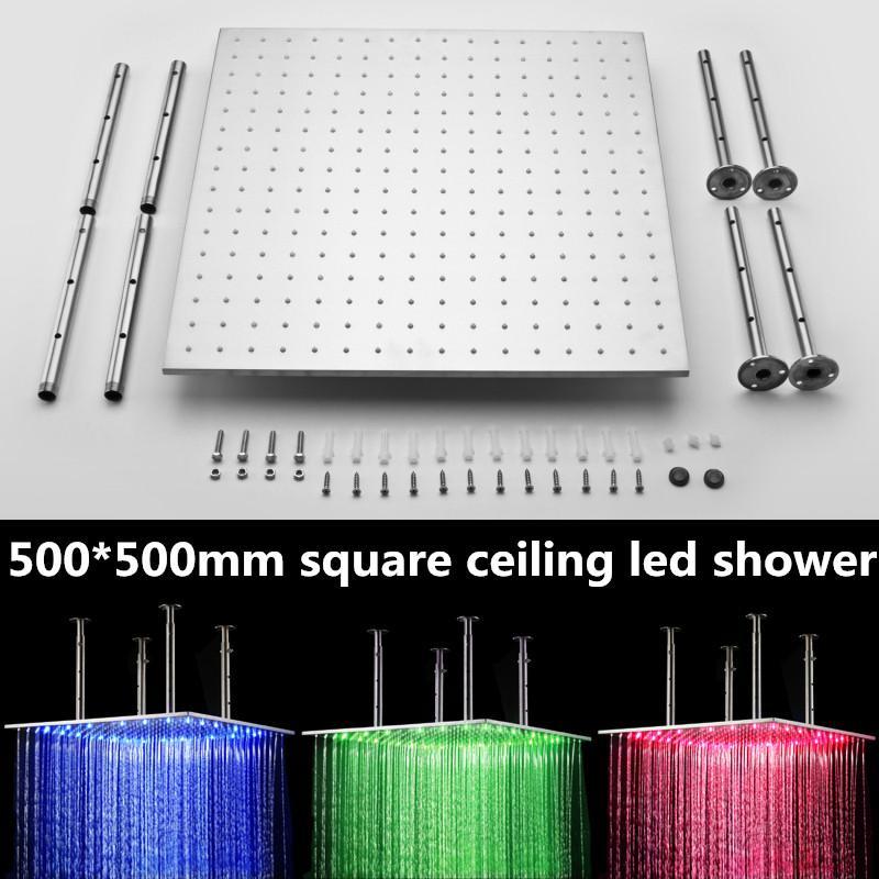 독특한 수력 전력 3 색 변경 led 가벼운 비 샤워 헤드 20inch 평방 천장 강우량 욕실 샤워 161222 #