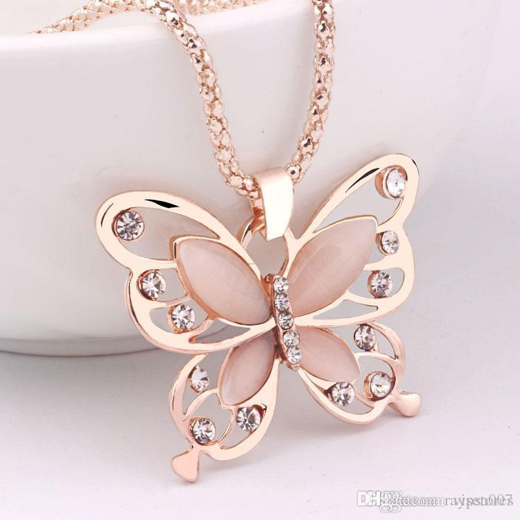 Caliente coreano 18 K oro rosa plateado suéter cadena colgante, collar de cristal de la suerte de la mariposa collar de cadena larga colgante animal collar de la joyería