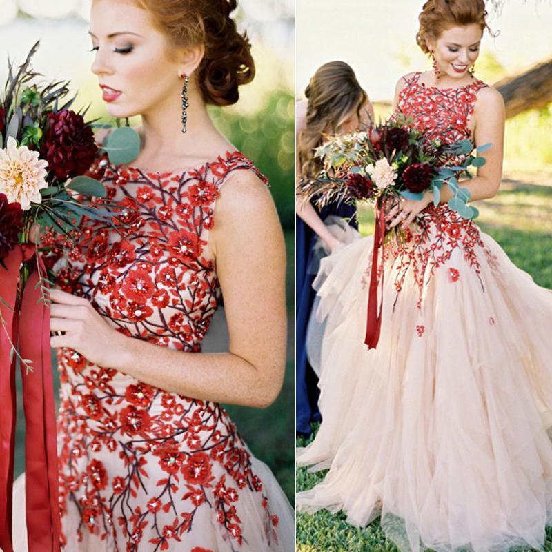 2018 Charming Aline Wedding Dresses Bateau Neck Flowers Appliques Tulle Backless Plus Size Wedding Gowns Modest Bridal Dresses