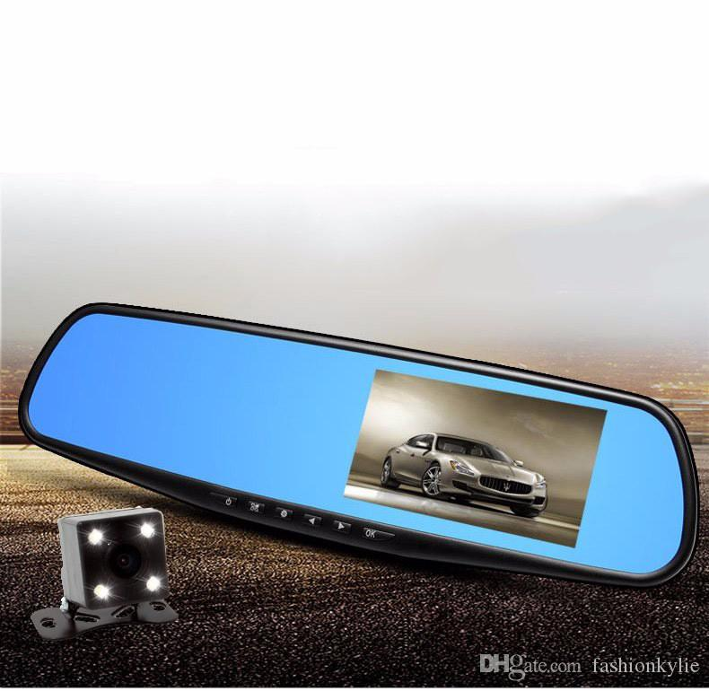 2107 New Full HD 1080P Car Dvr Camera Auto 4.3 Inch Rearview Mirror Digital Video Recorder Dual Lens Registratory Camcorder with box