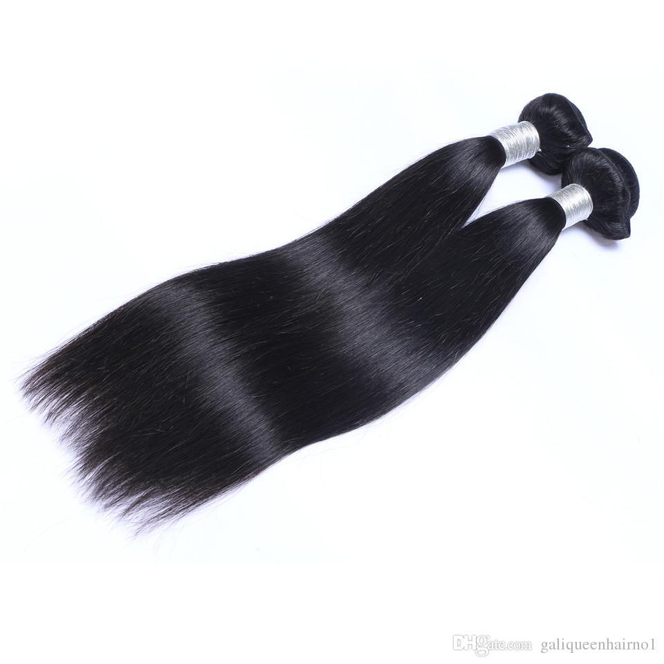 Бразильские прямые человеческие волосы пакеты необработанные ременные волосы двойные Wefts 100G / Bundle 2Bundle / Lot можно окрашены отбеленные наращивания волос