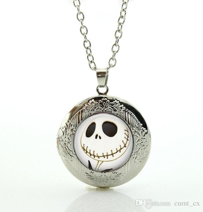 Presentes do dia das bruxas Pesadelo Antes do Natal Medalhão Colar arte Jack Skellington crânio esqueleto do punk pingente jóias Frete Grátis