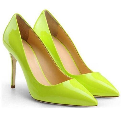 Großhandel Mode Goldene Spitz Leder Frauen Pumpt Dünne High Heel Stilettos Büro Dame Schuhe Weibliche Dance Party Schuhe Zapatos Mujer Von