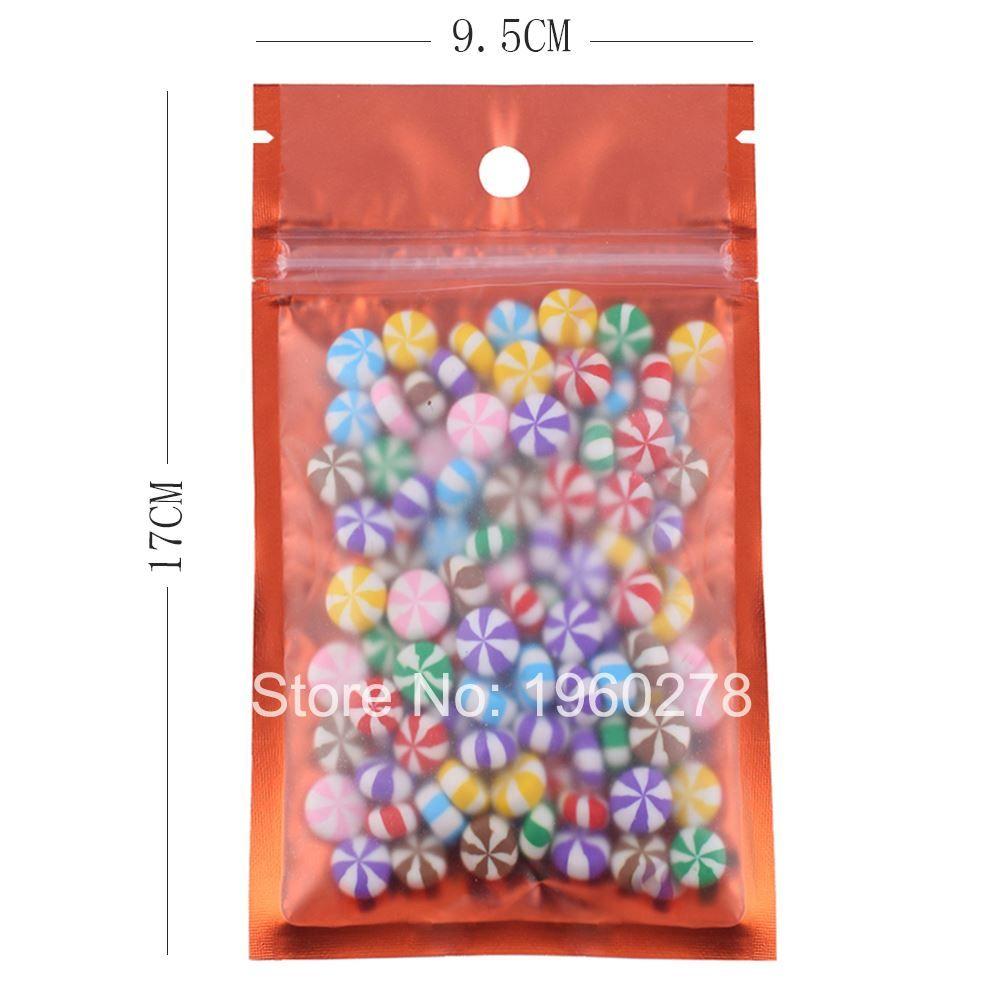 9.5x17 см 100 шт. / Лот слезоточивый надрез алюминиевый мешок с плоским дном Повесить отверстие матовый полупрозрачный алюминиевой фольги пластиковые мешки