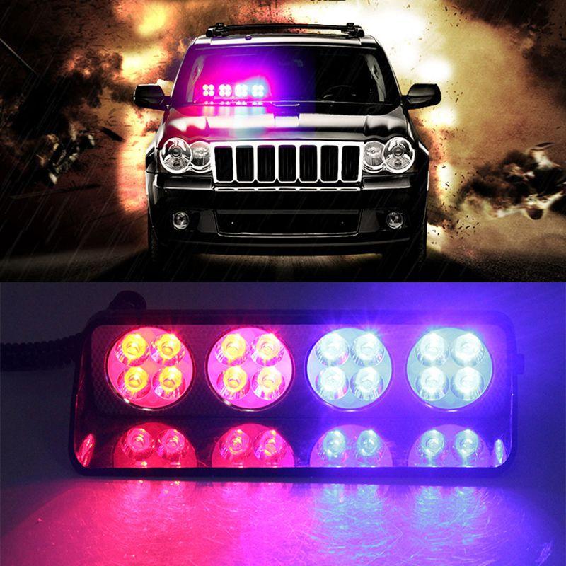 16Leds Lights 16 LED Red/Blue Car Sucker Strobe Flash Warning Light Dash  Emergency Flashing Lights 12V Windshield Lamp Car Led Lights Car Led Strobe