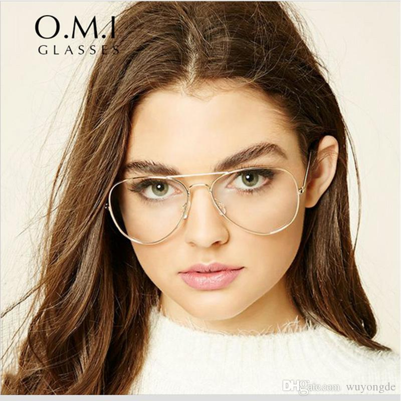 2017 Oversized Clear Aviator Glasses Women Transparent Optical Lens Metal Frame Fake Eyeglasses Brand Designer Psty3025 Cheap Eyeglasses Online