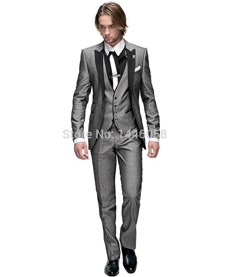 Wholesale- 2016 Italian Groomsmen Suit Business Custom Made Formal Dress Men Wedding Suits Groom Tuxedos For Men 3 Piece Suit Slim Fit
