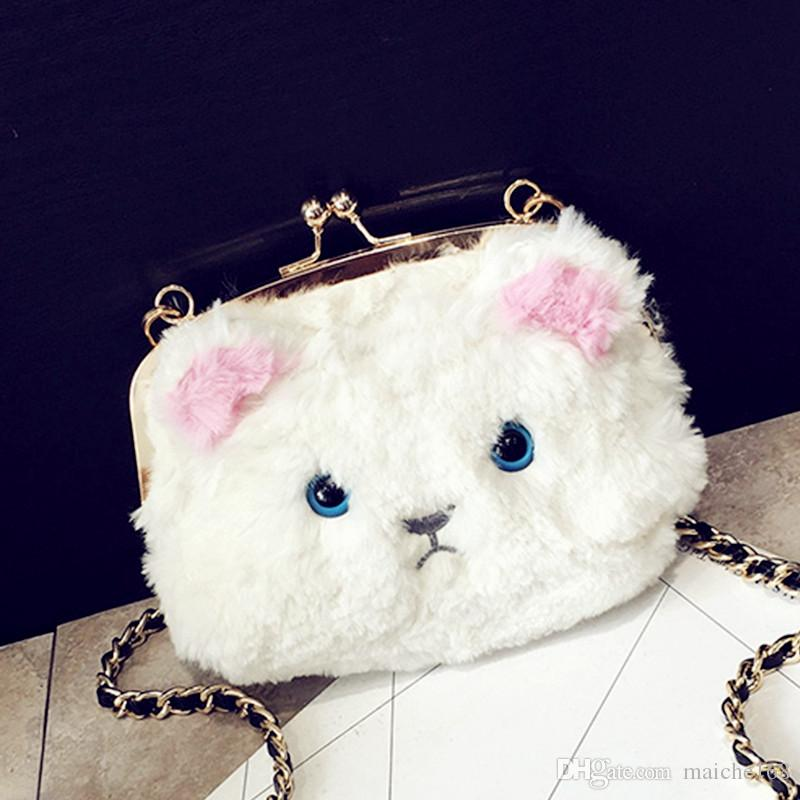 Plush kitten bag cell phone wallet button buckle handbag cartoon lovely shoulder oblique hand carry buckle chain bag