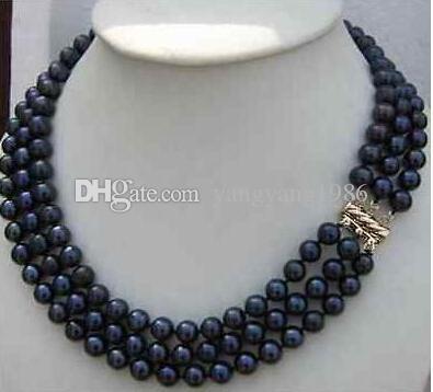 Neuer feiner Perlen-Schmuck Heißer Verkauf dreifache Stränge 8-9mm natürliche tahitian schwarze Perlenhalskette 18-20inch 14K Goldschließen