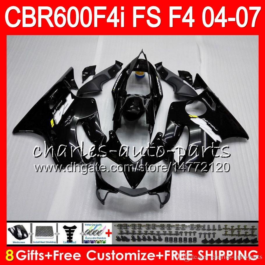8Gifts 23Cors para Honda CBR 600 F4I CBR600F4I 04 05 06 07 AAHM1 Gloss Preto CBR600FS FS CBR600 F4I CBR 600F4I 2004 2005 2006