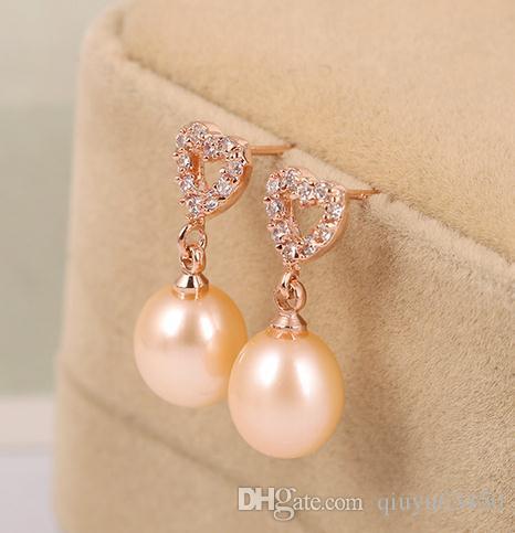 Großhandels8-9mm weiße rosafarbene purpurrote 3 Farbe natürliche Perlenohrringe 33646