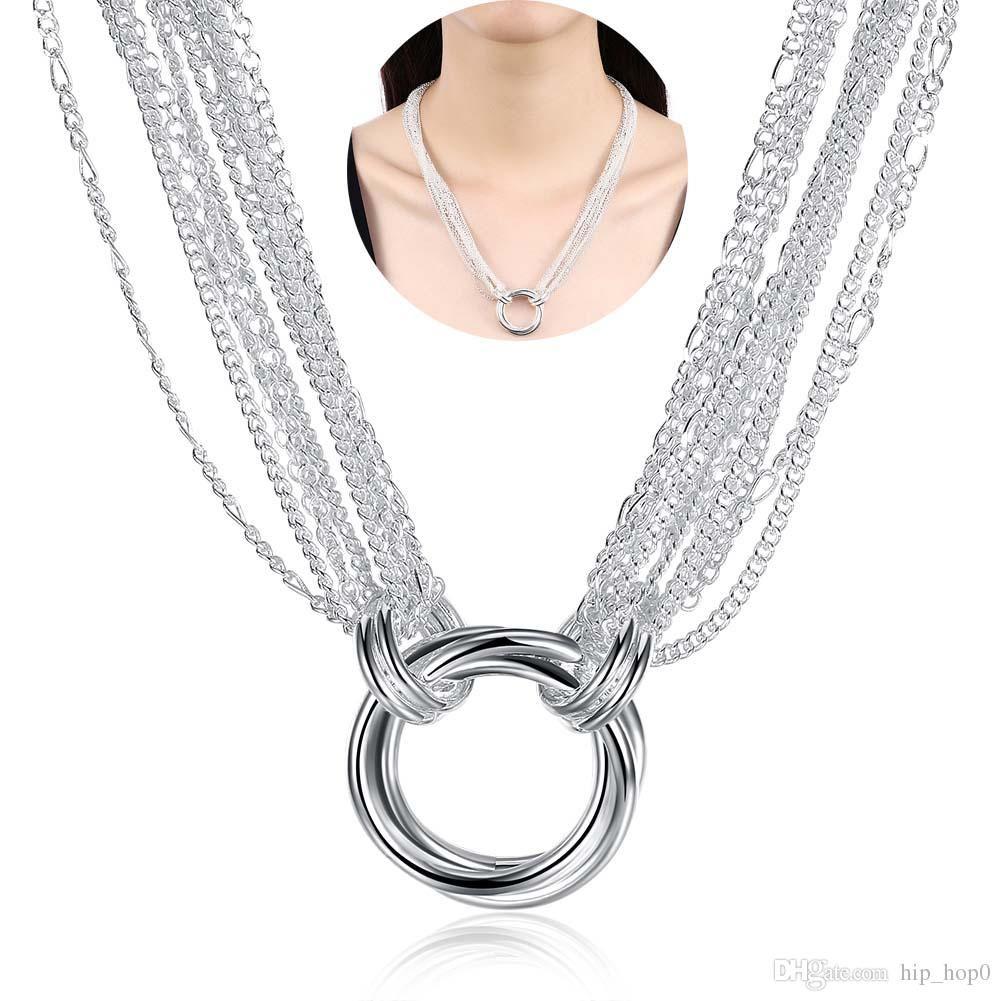 Многослойные Роло Цепи Три Кольца Ожерелье Покрытие Стерлингового Серебра 925 Ювелирные Изделия Благородных Женщин Модные Аксессуары 18 дюймов Длинное Ожерелье